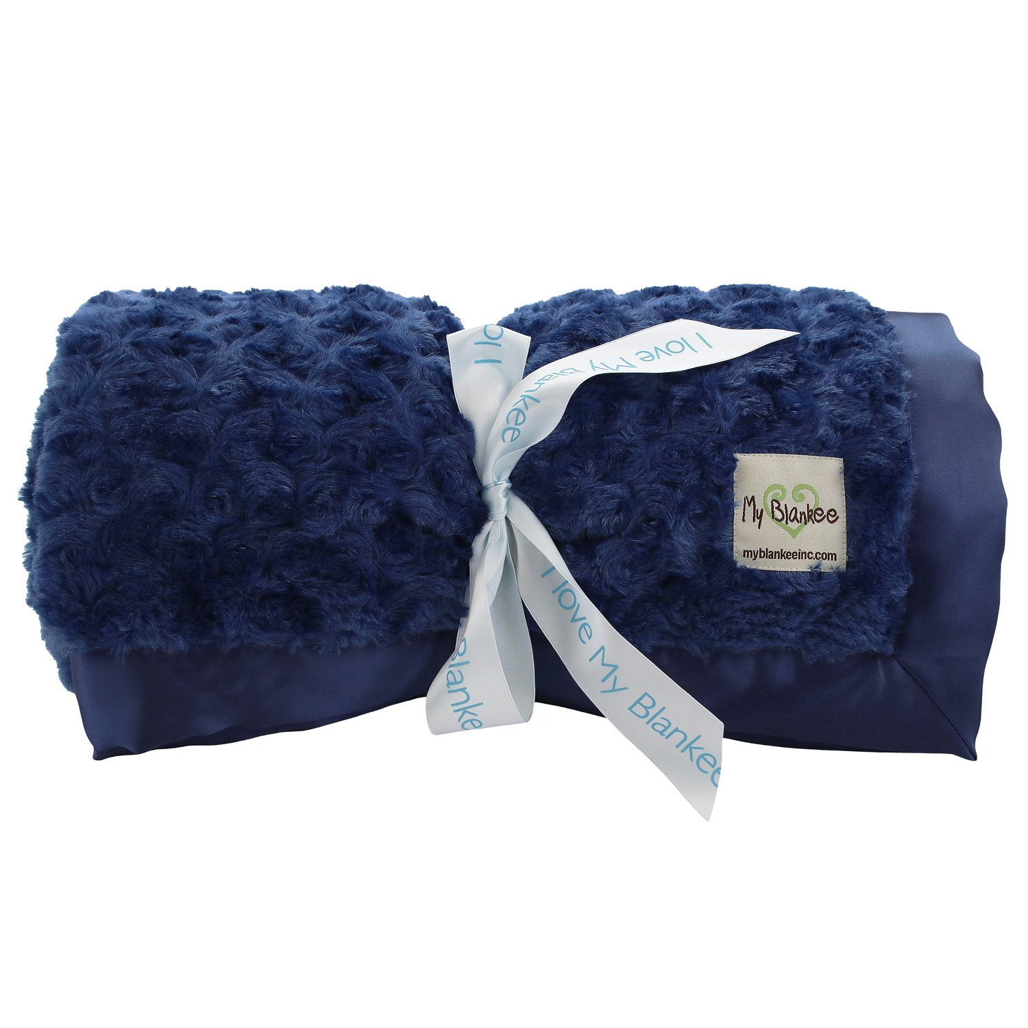 My Blankee Snail Luxe Extra Throw Blanket with Flat Satin Border, Navy, 59''X85''