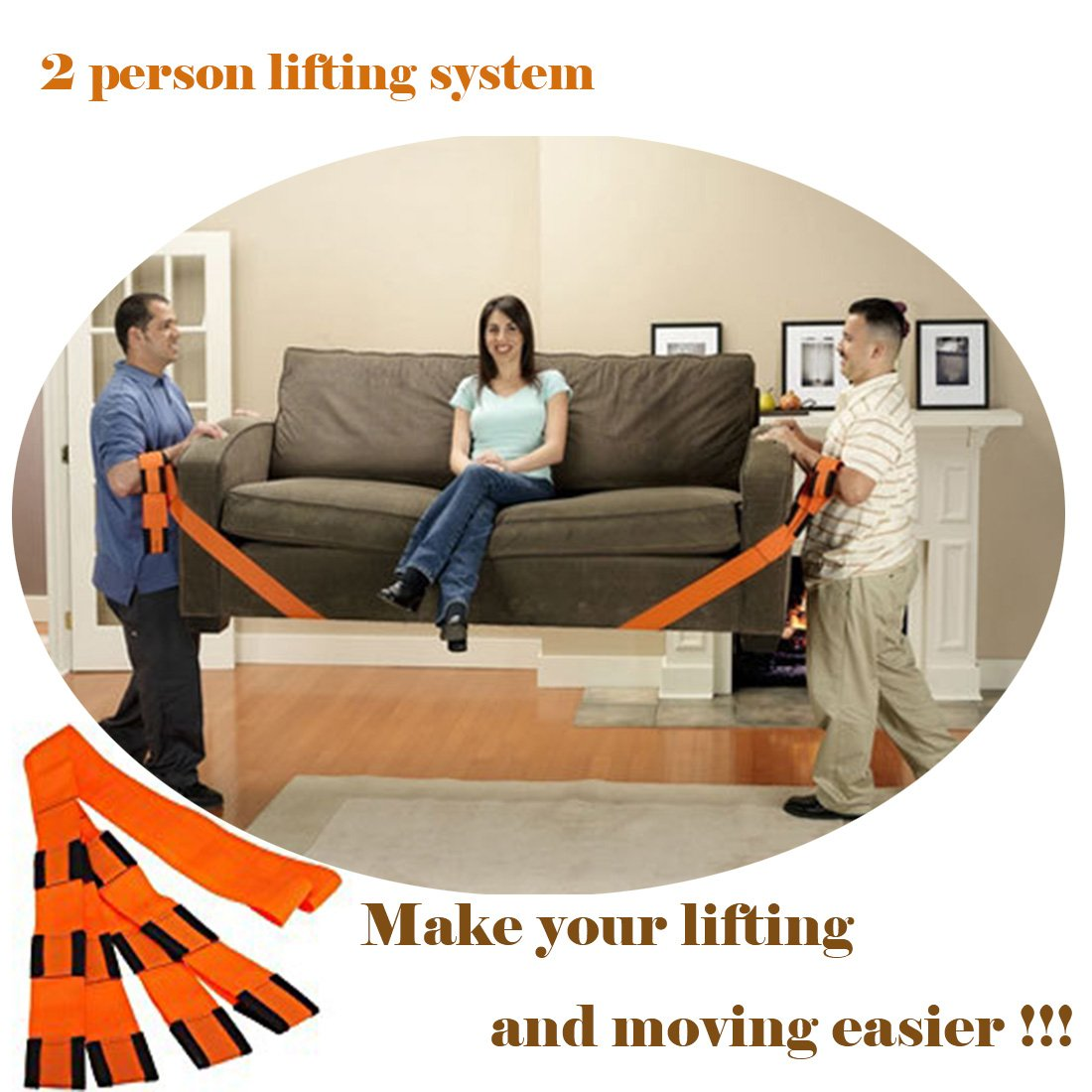 Lennystone Lifting and Moving Straps 2-Person Lifting and Moving System-Easily Move,Carry, Lift Furniture, Appliances and Heavy Objects ( 2- person lifting system )