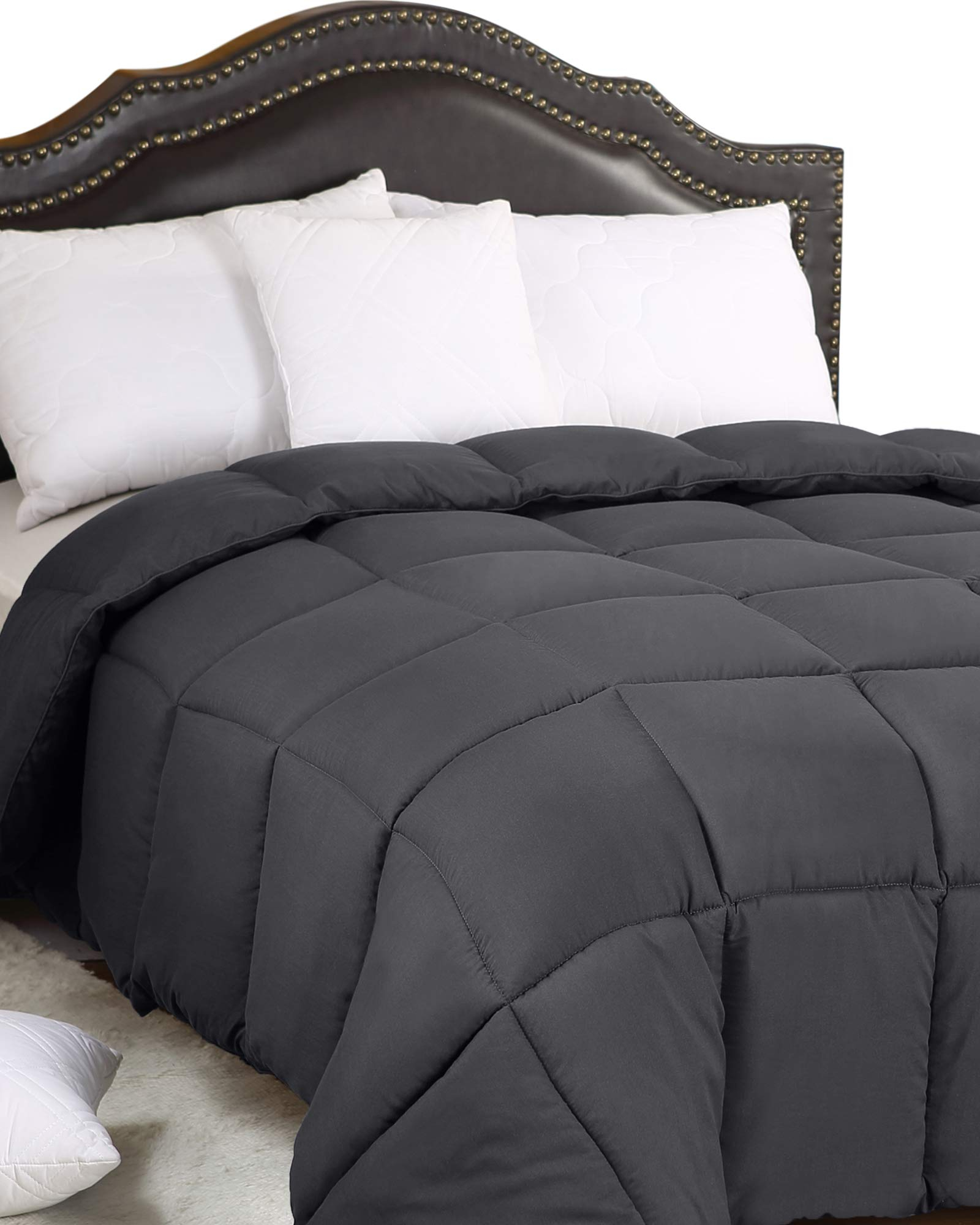 Utopia Bedding All Season 250 GSM Comforter - Soft Down Alternative Comforter - Plush Siliconized Fiberfill Duvet Insert - Box Stitched (Full/Queen, Grey) by Utopia Bedding (Image #1)