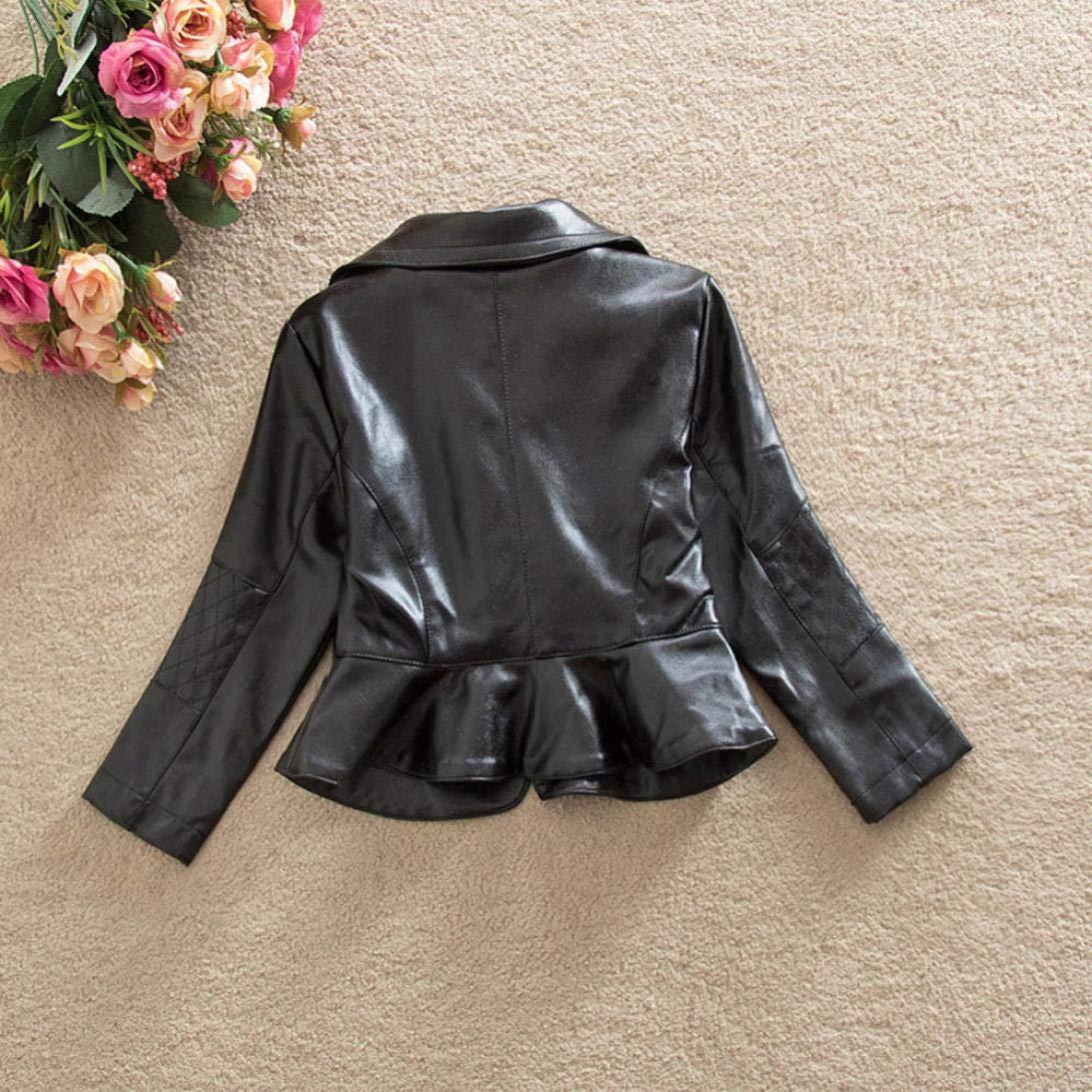 18a9eba21 Amazon.com: Girls Short Jacket Coat 1-4 Years Old, Fashion Infant Toddler  Girls Kids Autumn Winter Leather Zipper Outerwear: Clothing