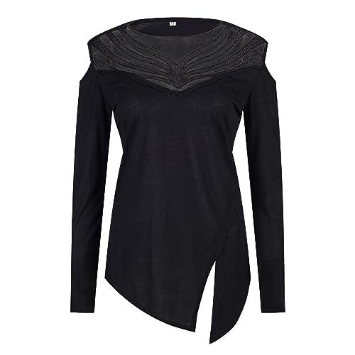 Beauty7 Camisas Mujeres Atada a la Cintura Mangas Larga Asim¨¦trico Cuello Hueco Vestido Verano Prim...
