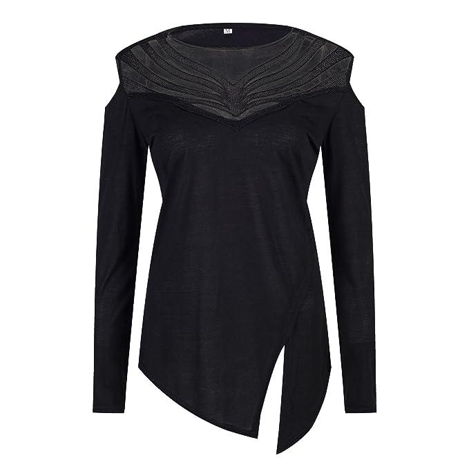 Beauty7 ES 38 Camisas Mujeres Atada a la Cintura Mangas Larga Asim¨¦trico Cuello