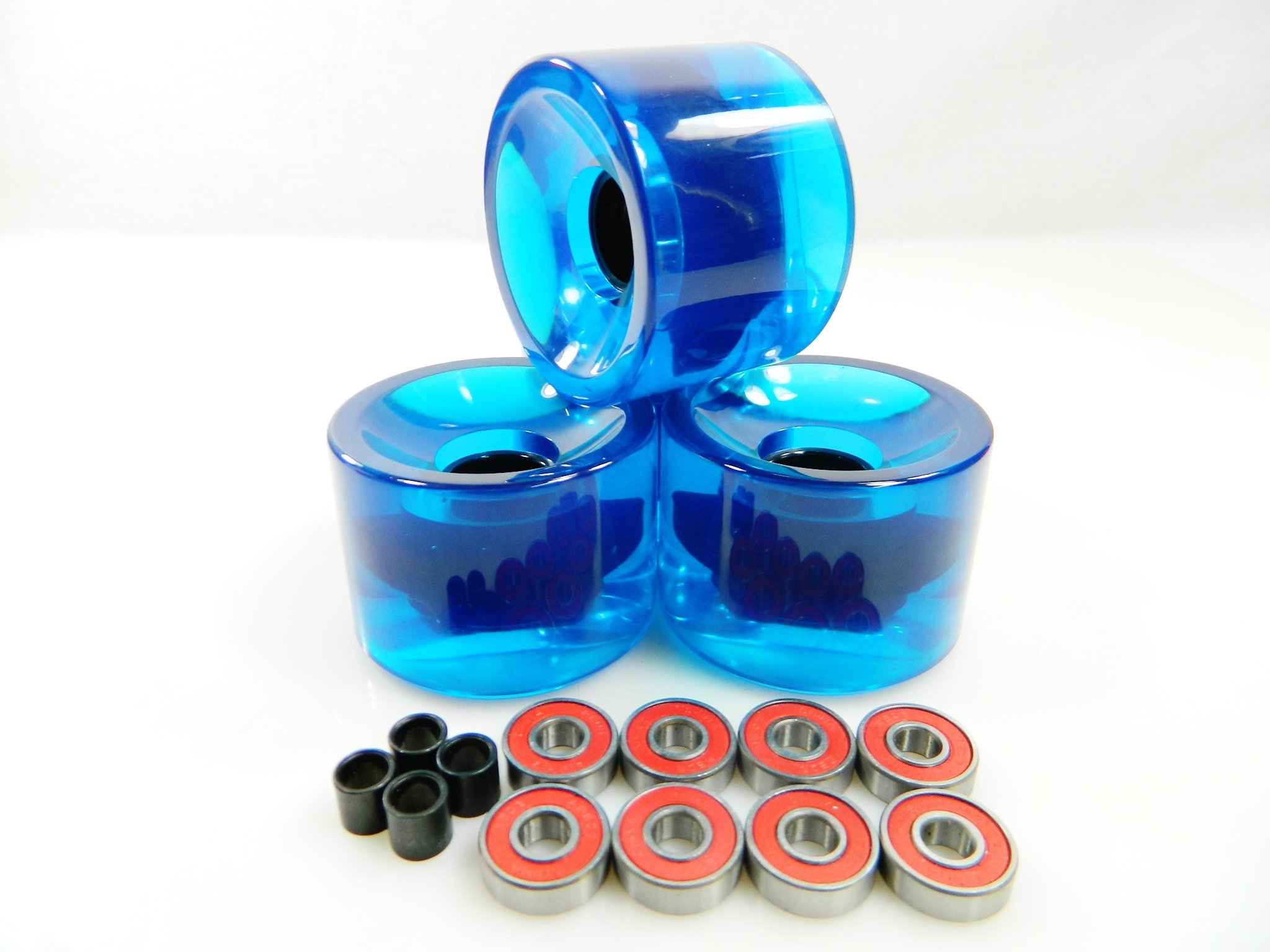 70mm Longboard Skateboard Wheels + ABEC 7 Bearings Spacers (Gel Blue) by Blank Wheels