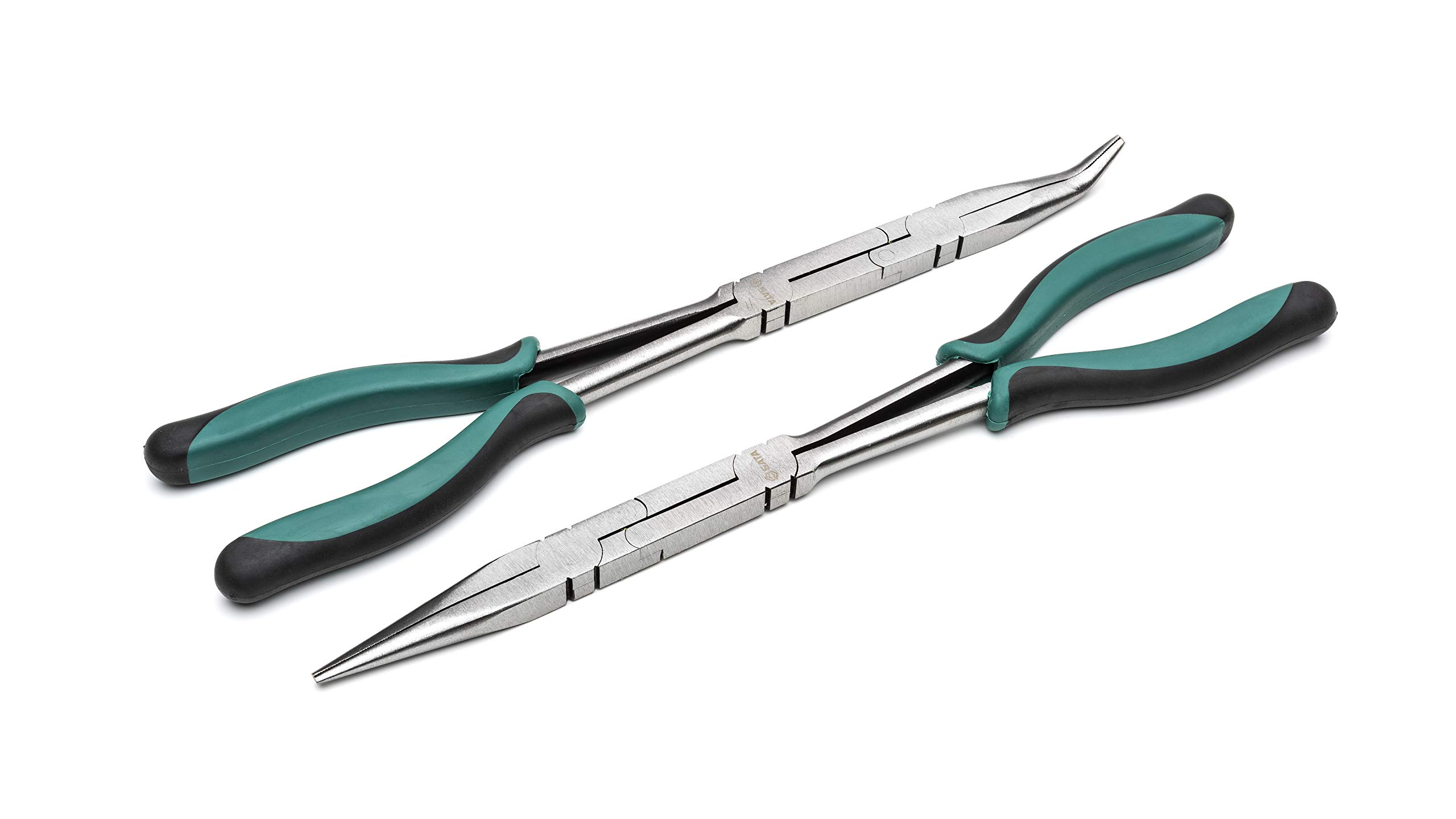 SATA 2Piece Double x-Pliers Set, Straight Body & 45° Tip, with Green Handles & A Long-Nose Design - ST70003U by SATA
