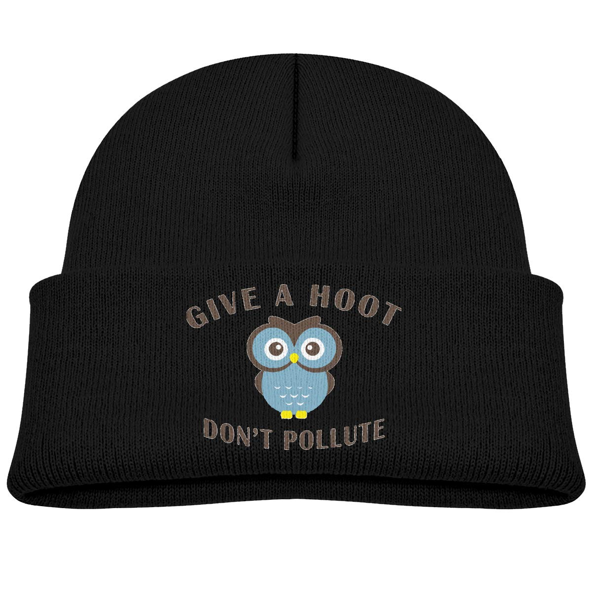 Kids Knitted Beanies Hat Give A Hoot,Dont Pollute Winter Hat Knitted Skull Cap For Boys Girls Blue