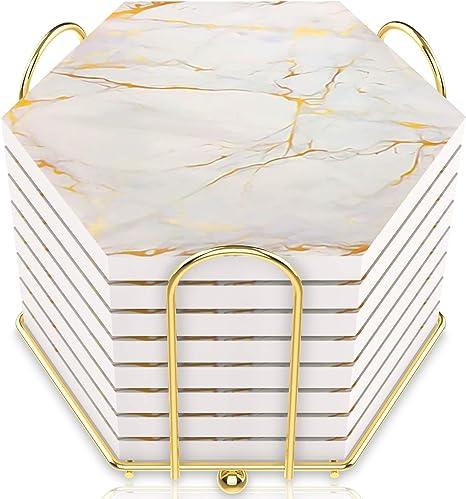 White Marble Glass Coaster For Drinks Housewarming Gift Coaster Drink Mat Tea Rug Coaster Tempered Glass Wine Mat Hardboard Coaster ZZ8159