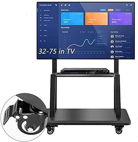 Carrito de empresa universal para soporte de TV de mesa con ruedas de bloqueo, televisores de