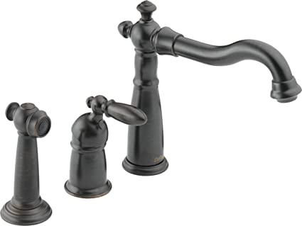 htm old world faucet handles faucets brass lever widespread huntington side with sprayer kitchen