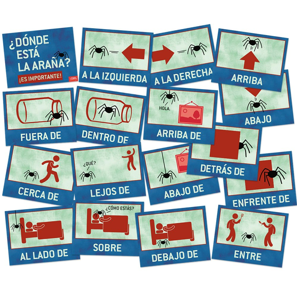 Where is the Spider? Spanish Directions Signs - Set of 17