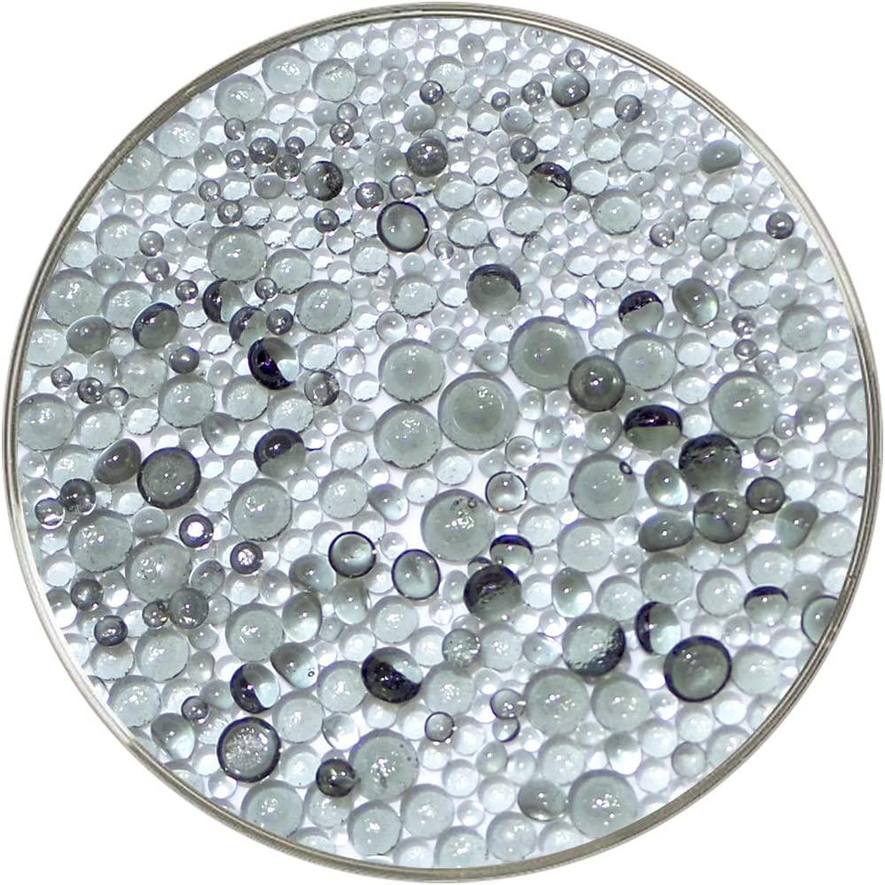 New Larger 1oz Size 90COE Made from Bullseye Glass by New Hampshire Craftworks Light Silver Gray Transparent Frit Balls