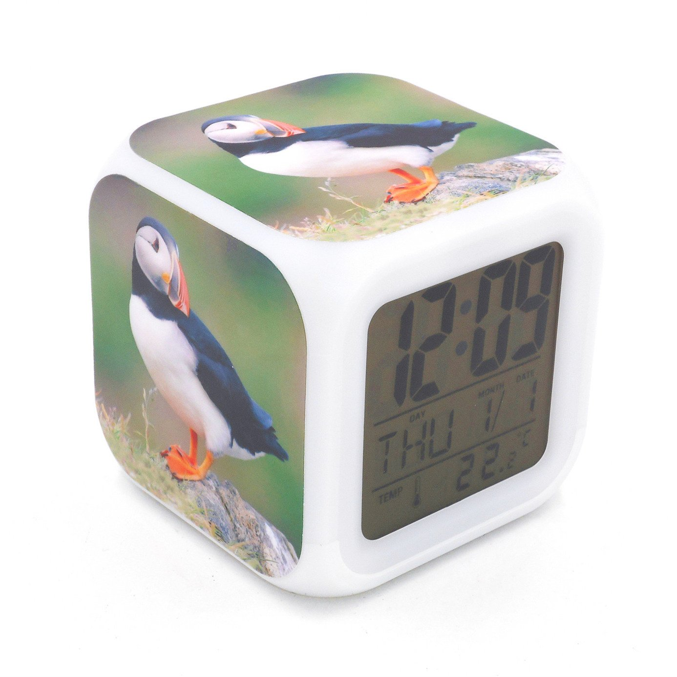EGS New Sea Parrot Puffin Birds Animal Digital Alarm Clock Desk Table Led Alarm Clock Creative Personalized Multifunctional Battery Alarm Clock Special Toy Gift for Unisex Kids Adults