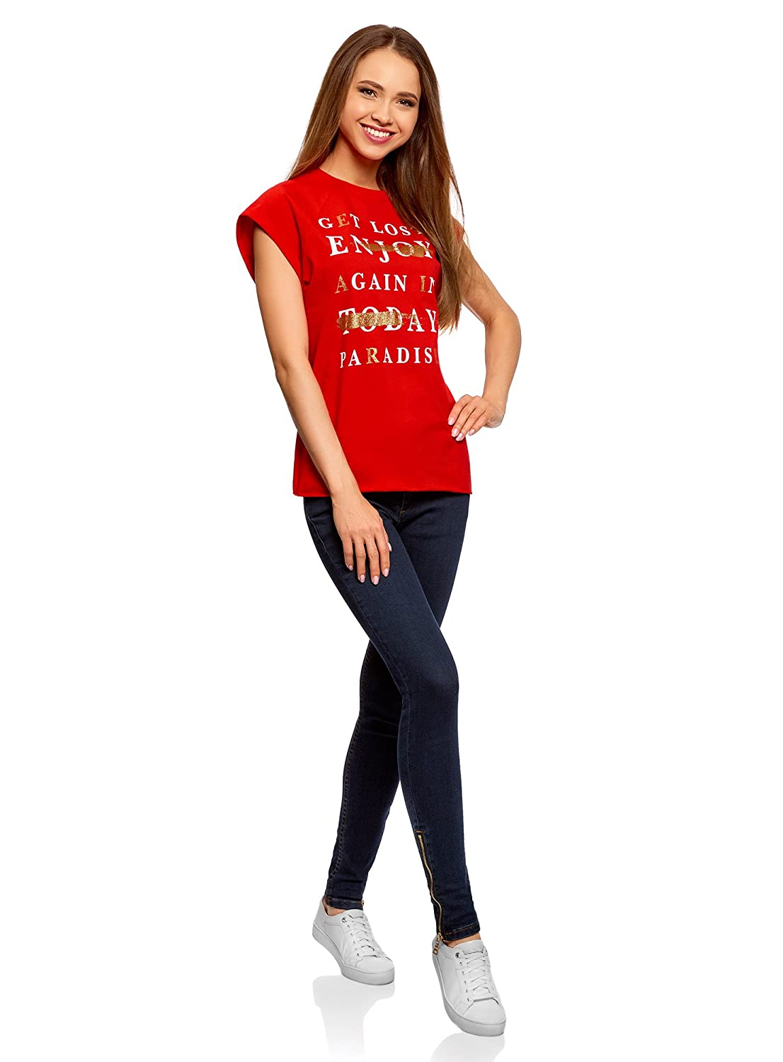 oodji Ultra Donna T-Shirt in Cotone con Stampa