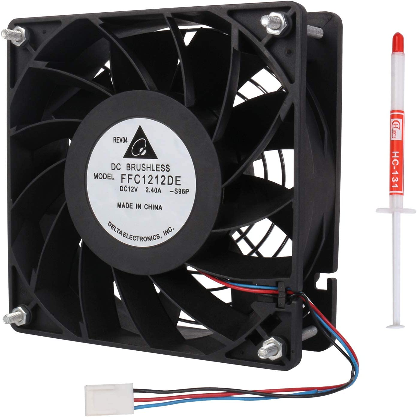 Li-SUN FFC1212DE Cooling Fan, 120x120x38mm 3-Pin 3-Wire, DC 12V 200CFM 4000RPM, High CFM PC Computer CPU Cooler with Metal Finger Guard Grill (Also Compatible with Model: FFB1212EHE)