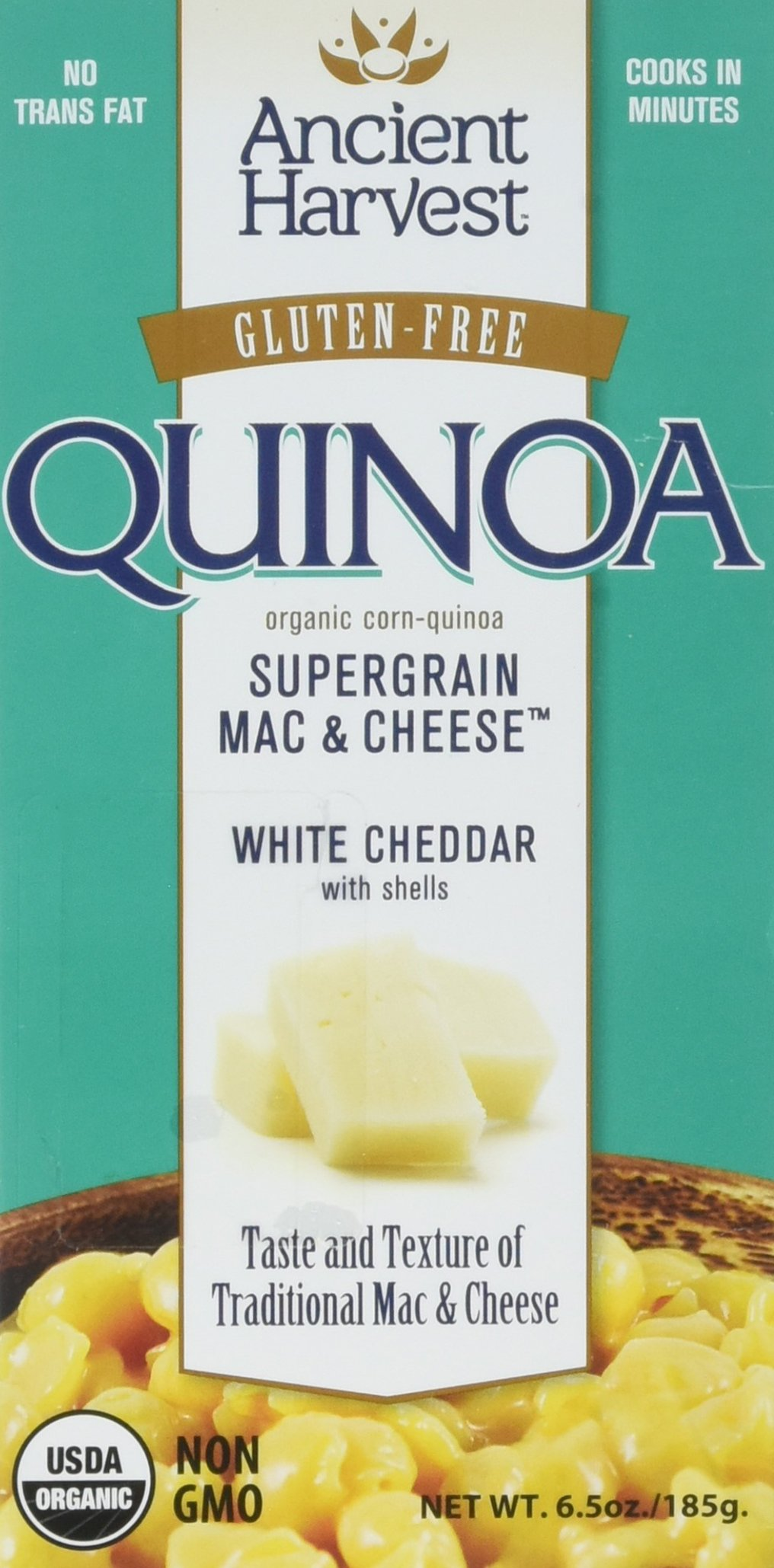 Gluten-Free Supergrain White Cheddar Mac and Cheese 6 Ounces (Case of 12) by Ancient Harvest Quinoa