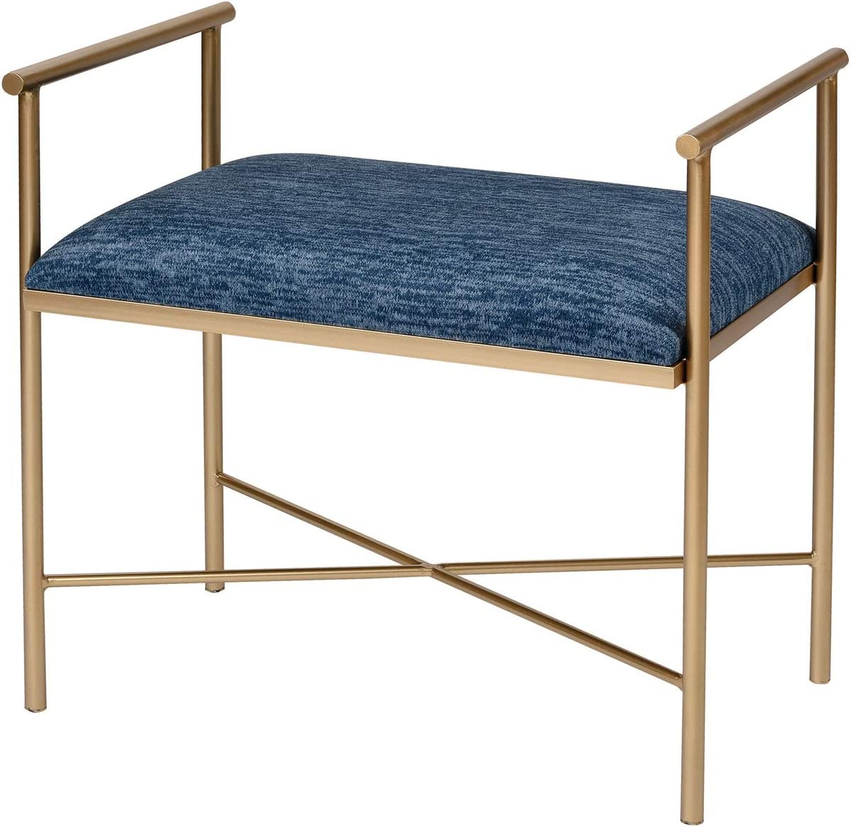 Sterling Home Grand Navy Blue Chenille and Gold bench,