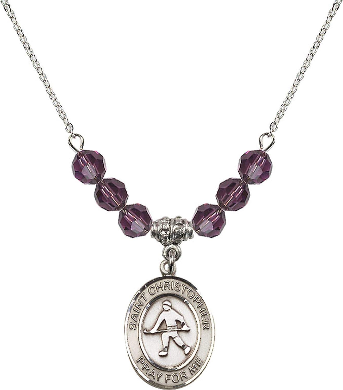 Bonyak Jewelry 18 Inch Rhodium Plated Necklace w// 6mm Purple February Birth Month Stone Beads and Saint Christopher//Field Hockey Charm