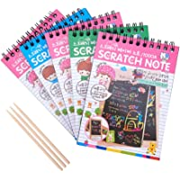 NBEADS Scratch Art for Kids, 50 Sheets Scratch Art Notes Paper Rainbow Art Doodle Pad Painting Boards with with 3 Bamboo Stylus
