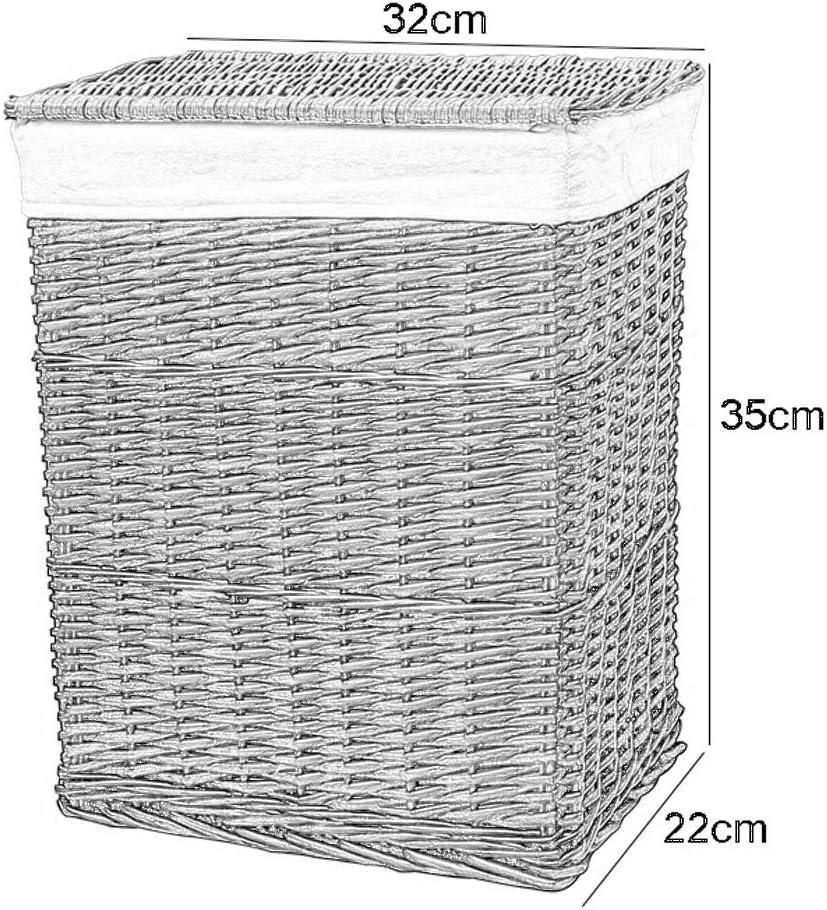 Paniers /à linge Rotin Portable avec Couvercle Coton Toile De Jute Doublure Poubelle Sale V/êtements Divers Panier De Stockage /À La Maison Color : Brown, Size : 32 * 22 * 35cm