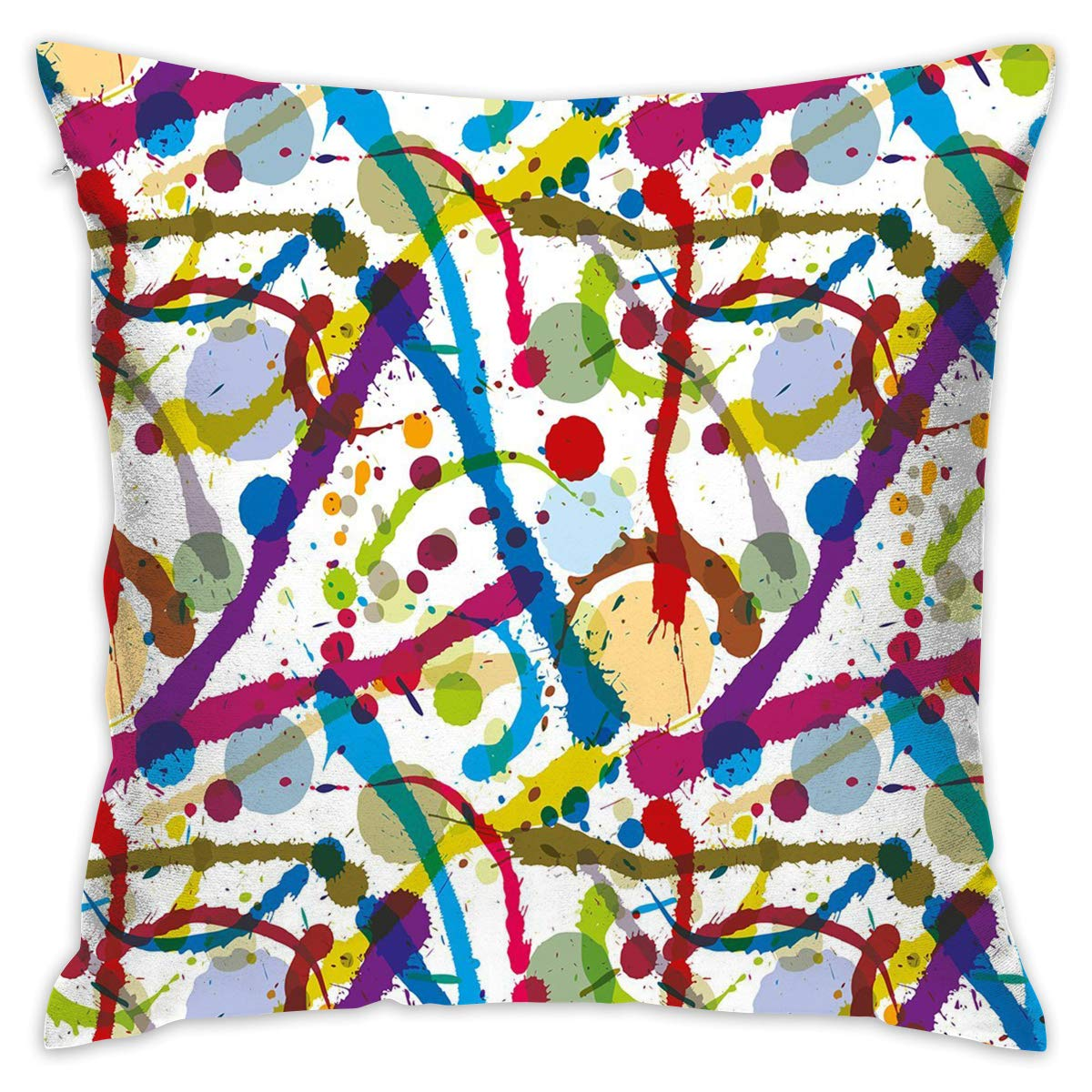 Shepinqee Nutmix Chair 18inx18in Pillowcase (Without Insert) Grunge Artistic Colorful Ink Splatters Creative Inspiration Stained Dirty Messy Display Decorative by Shepinqee (Image #1)