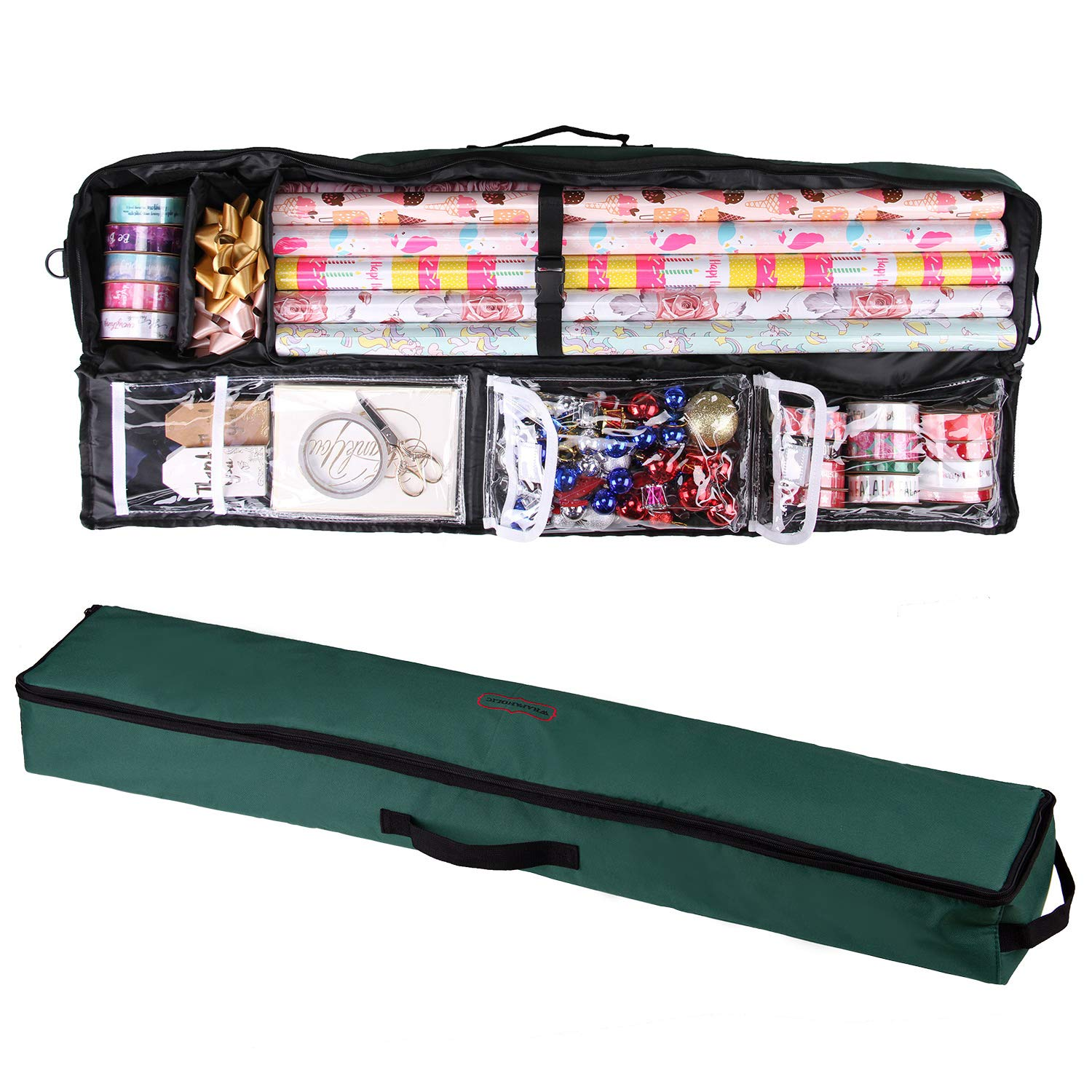 WRAPAHOLIC Gift Wrapping Paper Storage - Under Bed Gift Wrap Organizer Storage Bag with Handle - Dark Green