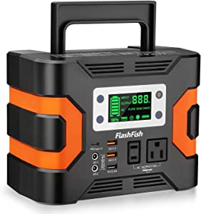 330W Portable Power Station, Flashfish 300Wh 81000mAh Solar Generator CPAP Backup Battery Emergency Power Supply with 110V AC Outlets, 12V/24V DC, QC3.0 USB, LED Flashlight for Camping Trip Home
