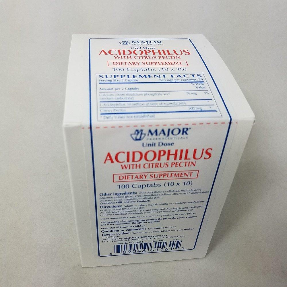 Major Acidophilus with Citrus Pectin, 100 Captabs Per Box (4 Pack)
