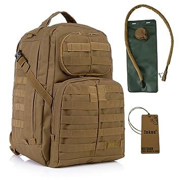 40L Military Army Assault Pack Mil-Tec Combat Mochila Mochila Sport Mochila Camping Trekking Bolsa con 2.5L Vejiga de Agua Hidratación Marrón canela: ...