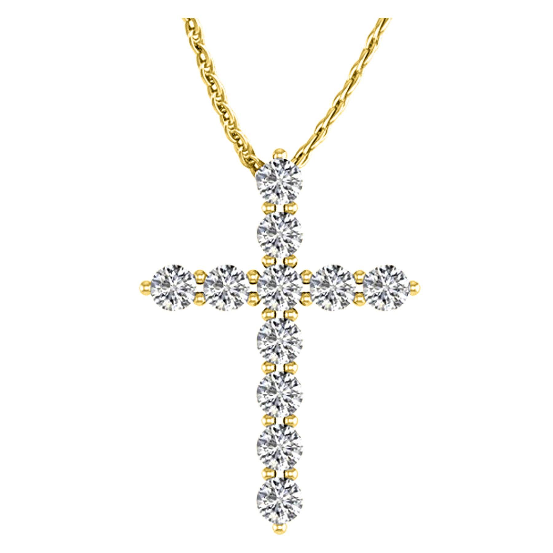 1.5 Carat Total Weight 14K Yellow Gold Diamond Cross Ultra Premium Collection