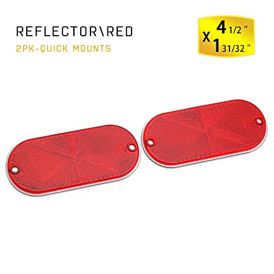 MFC PRO 2Pcs Plastic Oval Stick-on Reflector (Red): Automotive