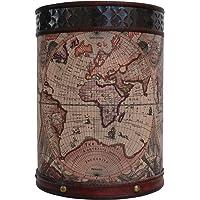 Papelera Cubo de la Basura 38cm mapamundi Madera