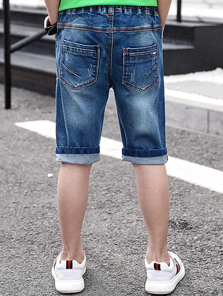LittleXin Kids Boys Fashion Elastic Waist Slim Fit Denim Shorts Age 4-13 Years