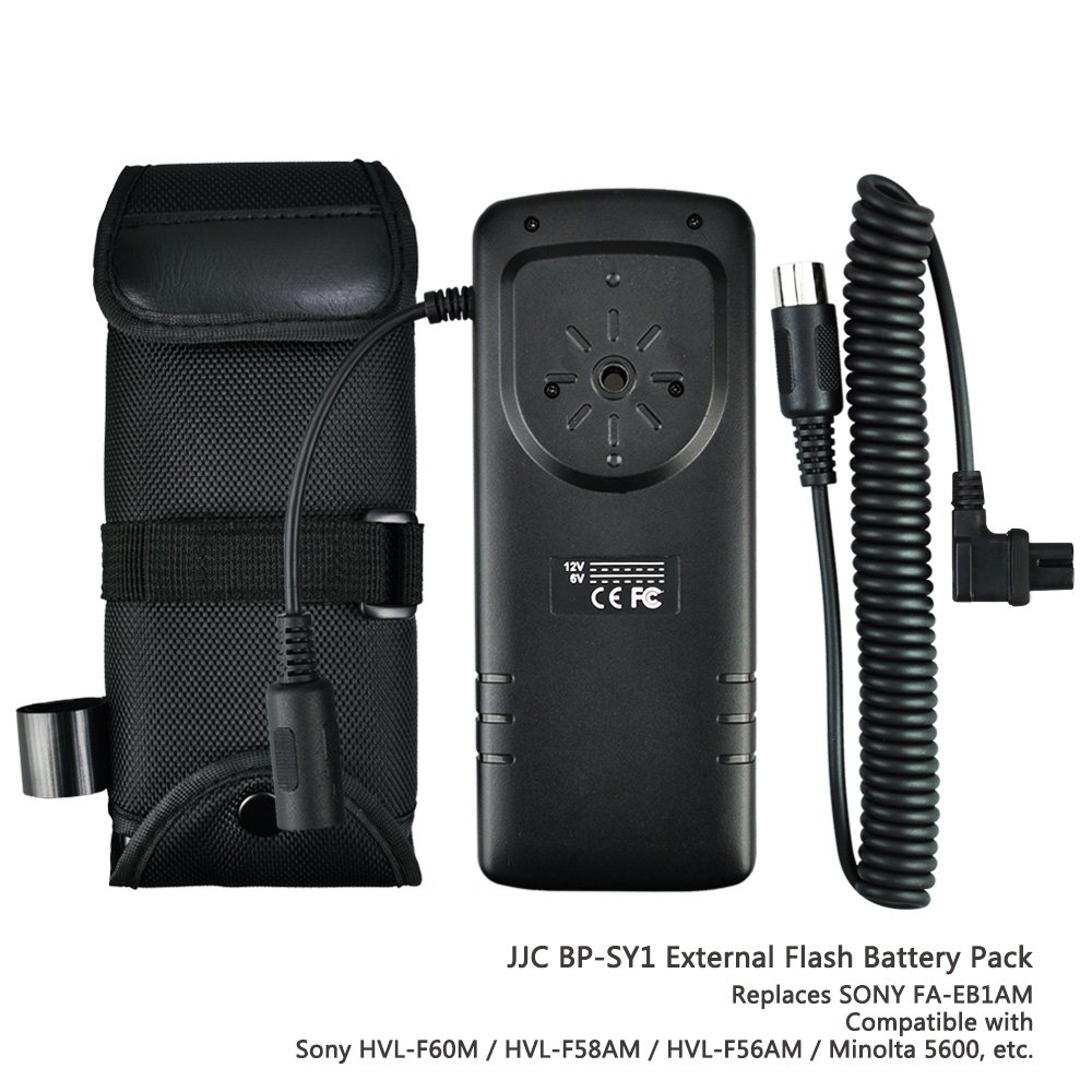 JJC Rapid Flash Fire Recycling External Flash Battery Pack for Camera Speedlite Sony HVL-F60M, HVL-F58AM, HVL-F56AM, Minolta 5600, replaces Sony FA-EB1AM by JJC