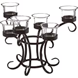 DC America WTC108 Wrought Iron Table Torchiere with Glass Cups
