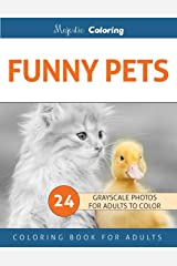 Funny Pets: Grayscale Photo Coloring Book for Adults Paperback