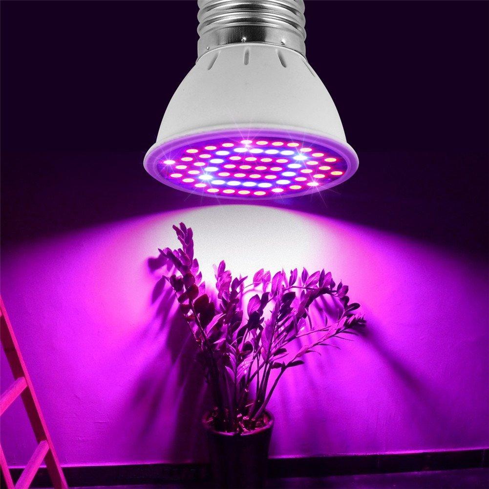 Led Grow Light, Led Grow Light Bulb for Indoor Plants, AIMENGTE E27 AC85V-265V Led Plant Grow Bulb, Led Plant Garden Lamp for Flower Vegetable Greenhouse Hydroponics Organic Cultivation. (60 LEDs)