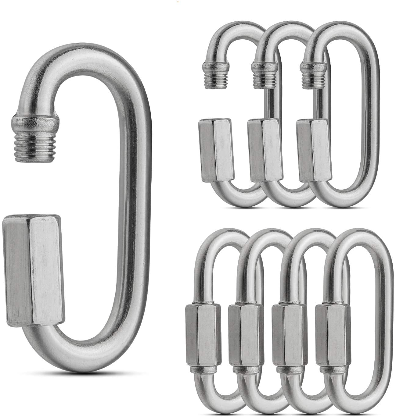Camping and Outdoor Equipment 30 Packs Quick Link M4 5//32 inch Stainless Steel Quick Link Chain D Shape Locking Quick Chain for Carabiner Load 500 Lbs. Max Hammock