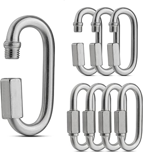 AHUNTTER 16 Pack M5 Quick Chain Links 304 Stainless Steel D Shape Locking Carabiner Quick Link Chain Connector Keychain Buckle 290KG