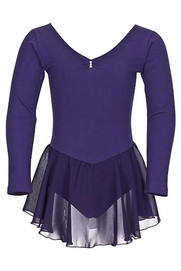 tanzmuster Kinder Langarm Ballettkleid Anna aus Baumwolle mit Chiffon Röckchen in rosa, weiß, schwarz, hellblau, pink und lil