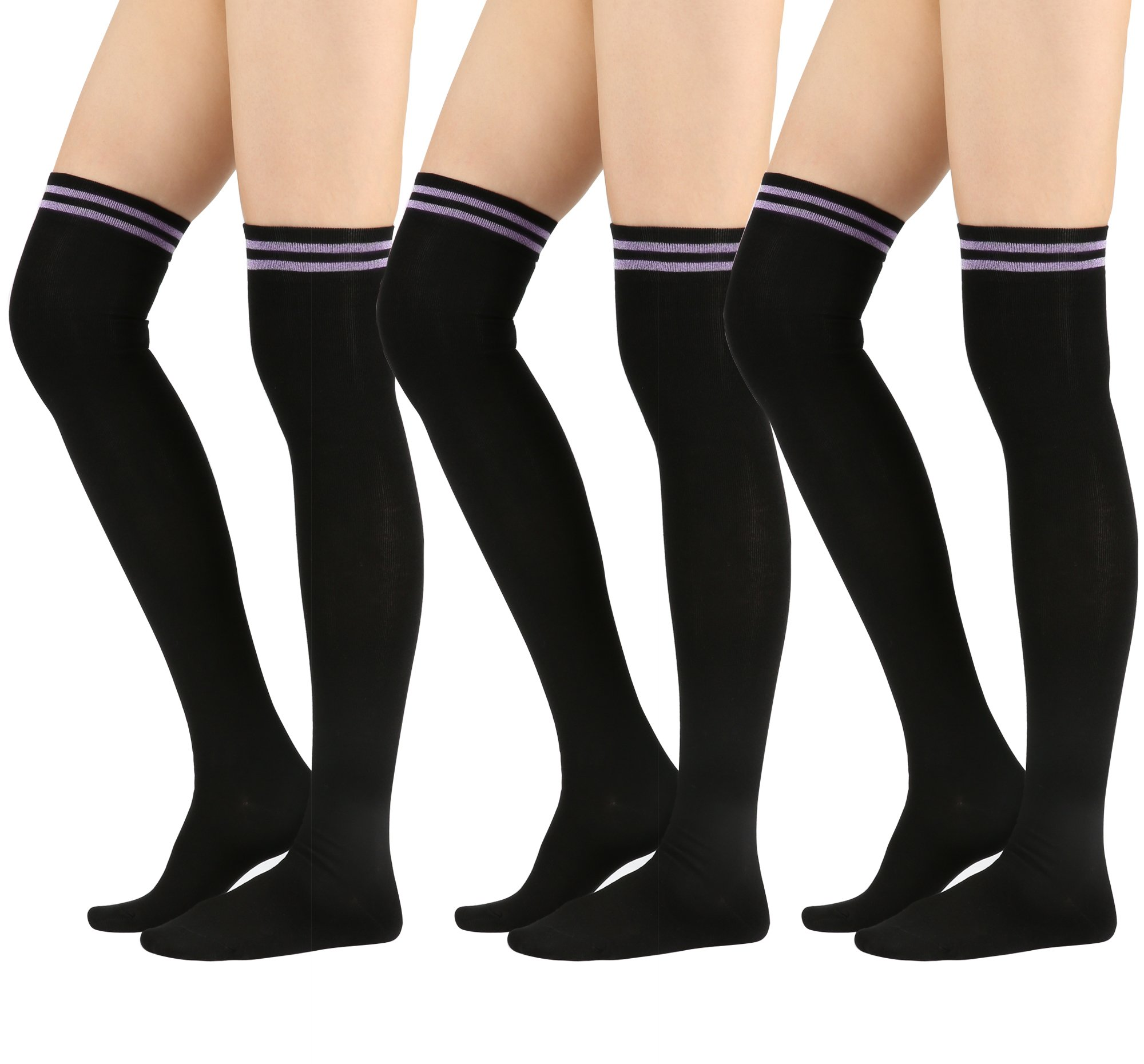 STYLEGAGA Womens Over The Knee High Socks (One Size : XS to M, Sparkle Double Stripe-3Pair)