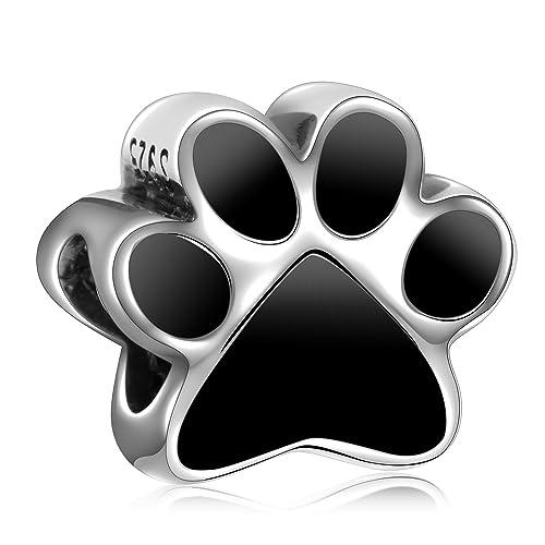 6b87504d3 Angemiel 925 Sterling Silver Black Dog Paw Prints Pet Charms Bead Fit  European Bracelets