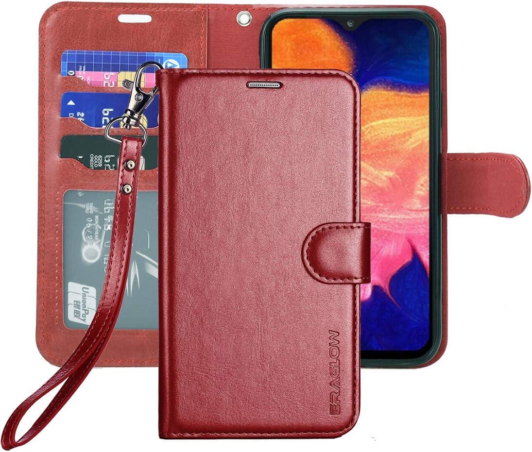 ERAGLOW Galaxy A10E Case,Galaxy A10E Wallet Case,Premium PU Leather Wallet Flip Protective Phone Case Cover w/Card Slots & Kickstand for Samsung Galaxy A10E A10 E 2019 (Wine Red)