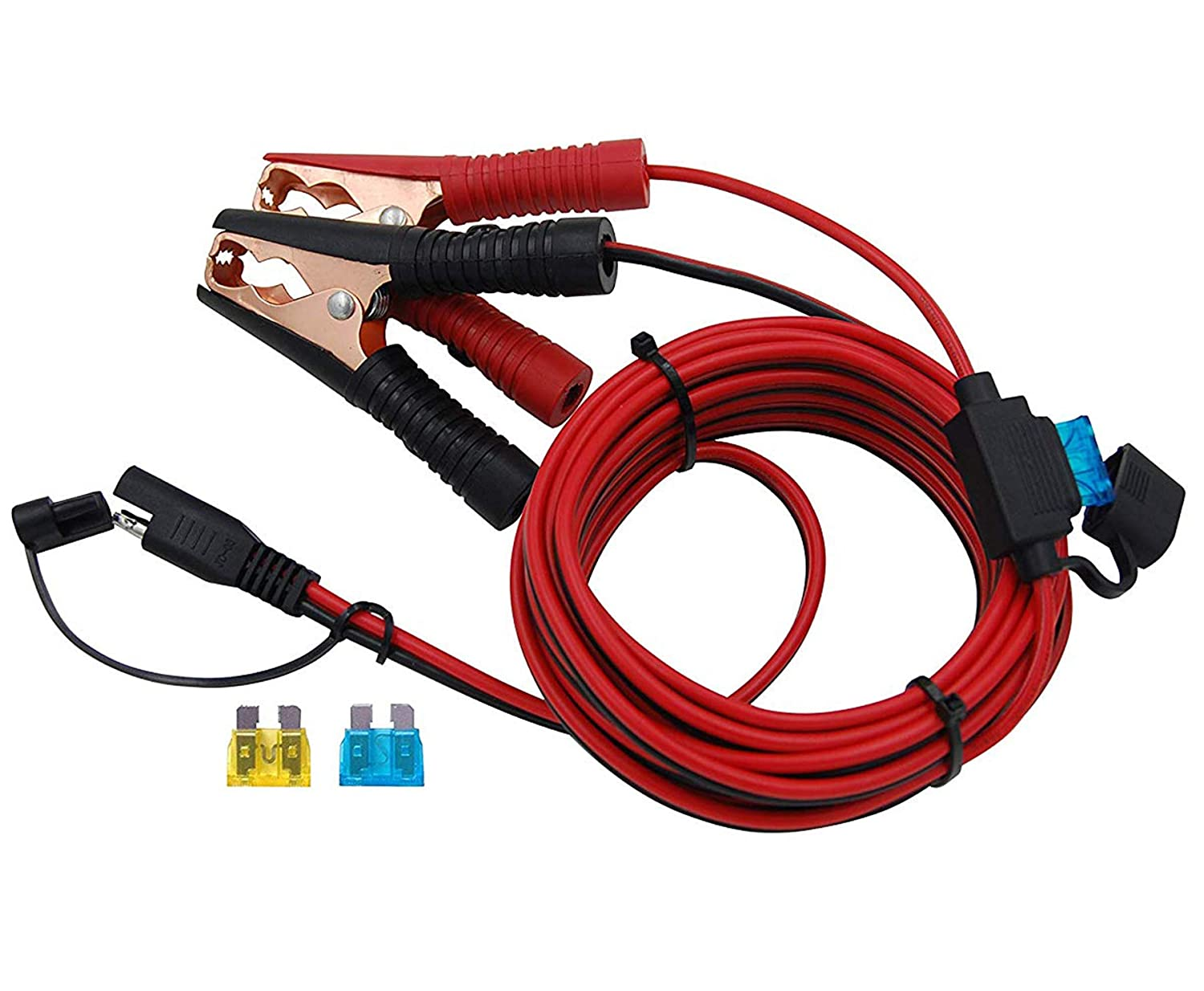 CU10330B CUZEC 6FT 16AWG 15A Battery Alligator Clip to SAE Connector//12V SAE Quick Release Adapter to Alligator Clips Quick Disconnect Cable