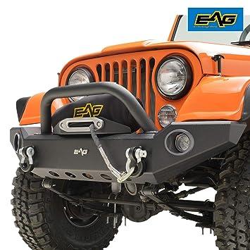 eag full width front bumper with led lights and light frames fit for 76 86 jeep wrangler cj Original Front Bumper Jeep Scrambler