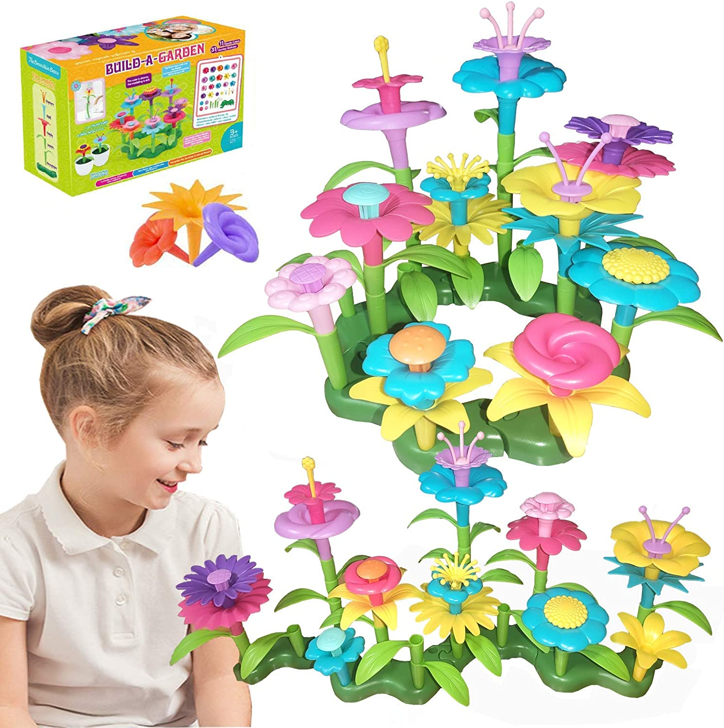 Ideal Christmas Birthday Gifts for 3 4 5 6 Age Boys and Girls(46PCS) Oleoly Flower Garden Building Toys for Kids Preschool Toddler Building STEM Education Activities Build Bouquet Sets