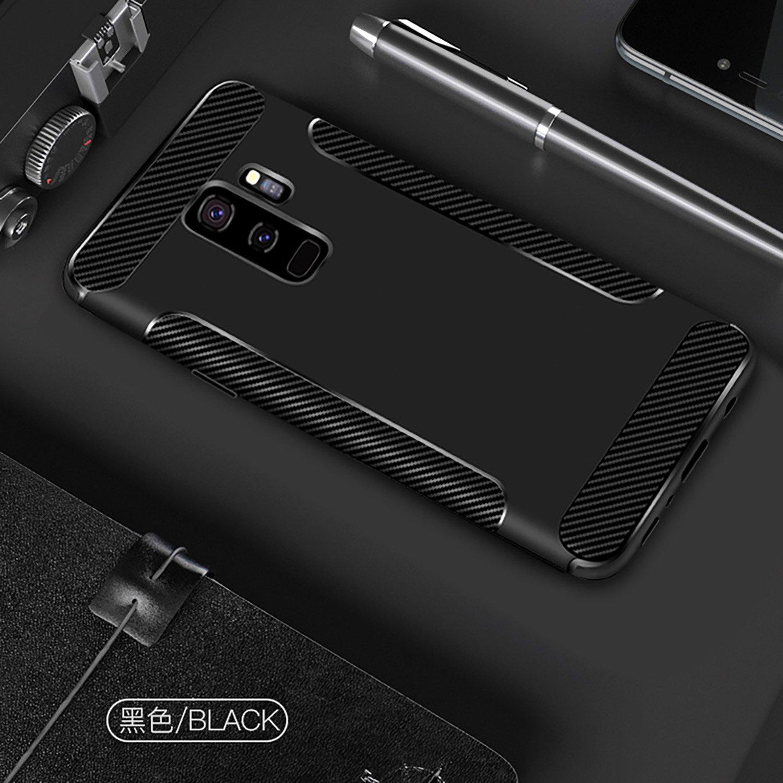 Fibre TPU Bumper Coussin de Protection Cases pour Samsung Galaxy S9 Premium Flexible Flymaff Compatible pour Galaxy S9/Coque Absorption des Chocs Protection d/écran en Verre