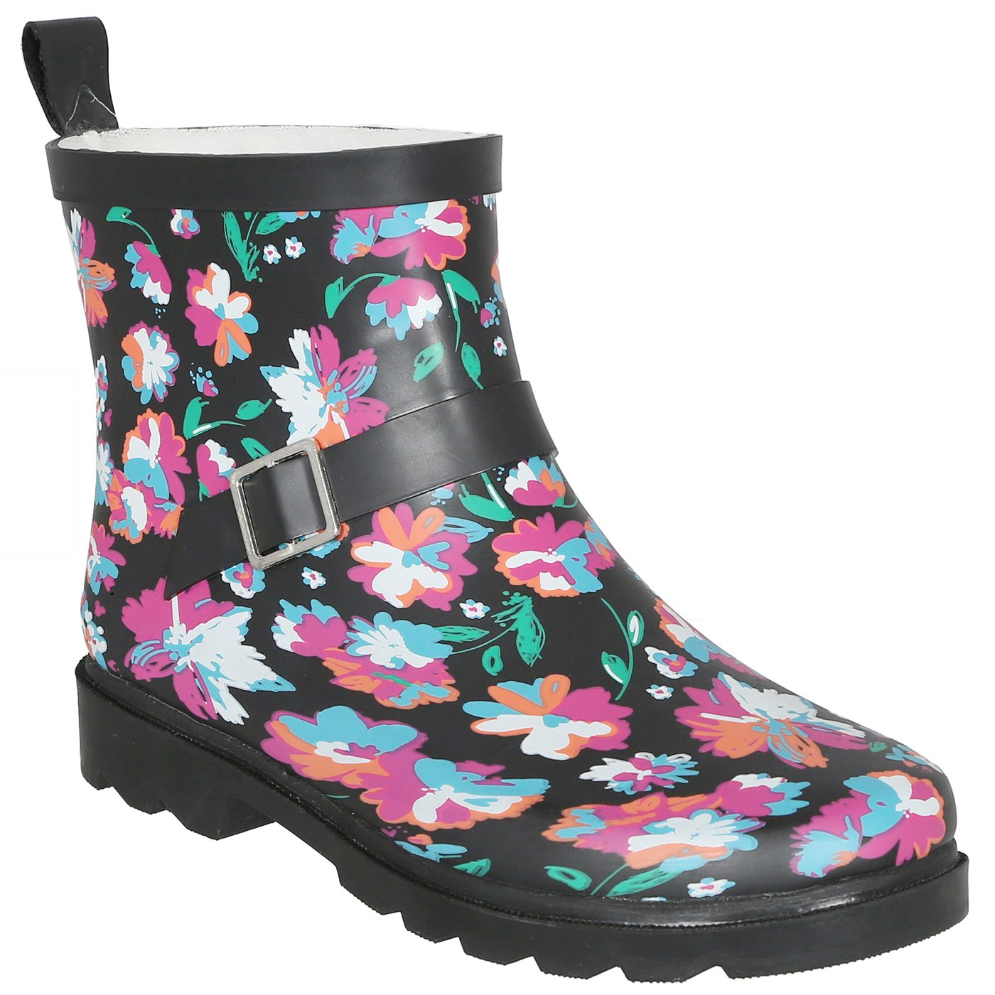 Black Multi Capelli New York Ladies Shiny Umbrella Day Printed Short Sporty Lined Rainboot