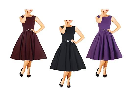Original Black Audrey Hepburn Style Vintage Rockabilly Swing Evening Wedding Prom Dress Size 10