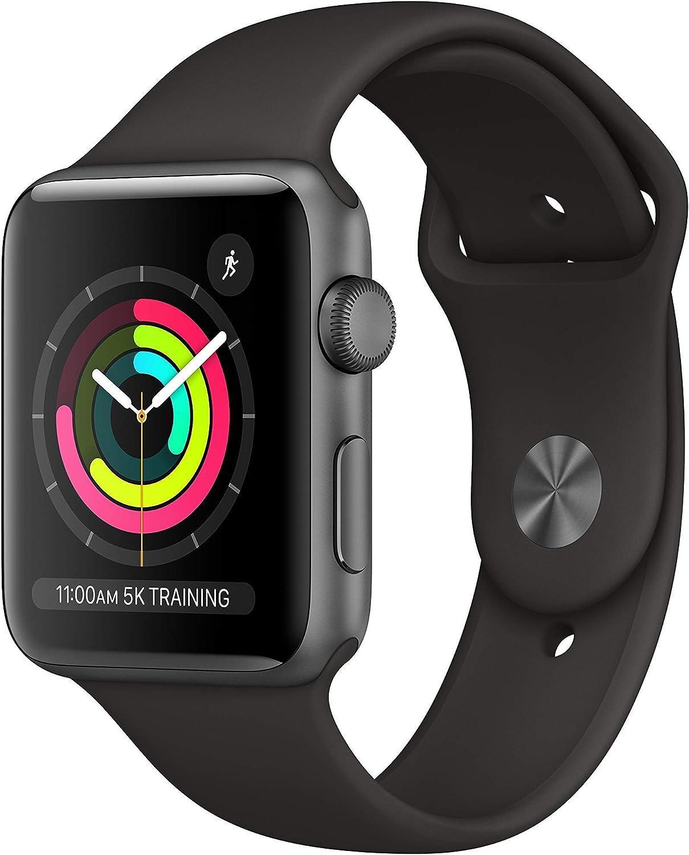 Apple Watch Series 3 GPS 42mm Space Gray Black Sport Band - MTF32LL/A (Renewed)