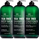 Botanic Hearth Tea Tree Body Wash and Tea Tree Shampoo & Conditioner Set Bundle - Hair and Skin Calrifying
