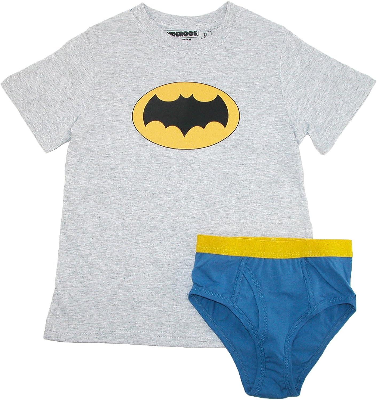 HANDCRAFT SHIRT /& BRIEF UNDERWEAR SET BOYS 4 6 8 SPIDERMAN BATMAN SUPERMAN NEW